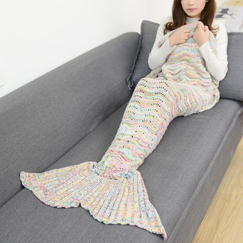 Beige Rainbow Scale Knitted Mermaid Tail Blanket Sofa Bedding Home Gift