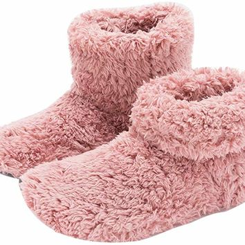 Mens and Women's Cozy Bootie Slippers with Memory Foam for Indoor/Outdoor