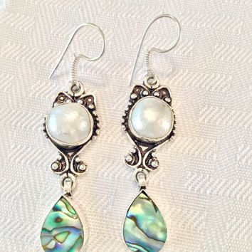 Abalone and Pearl sterling silver earrings