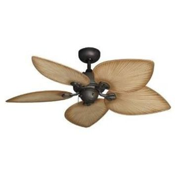 """Bombay Tropical Ceiling Fan in Oil Rubbed Bronze with 42"""" Tan Blades"""