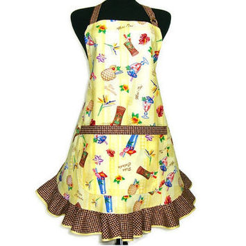 Tropical Drinks, Retro Kitchen Apron ,  Yellow with Brown Ruffle , Waitress , Bartender