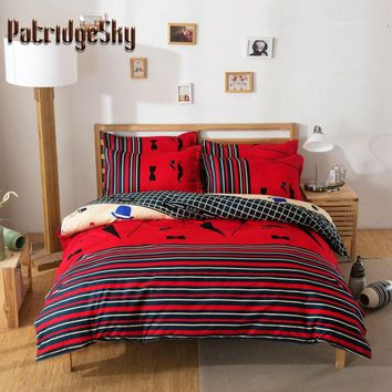 4pcs polyester+cotton cartoon Bedding set Duvet Cover set bedcover bedclothes bedlinen flat sheet pillowcase queen king size