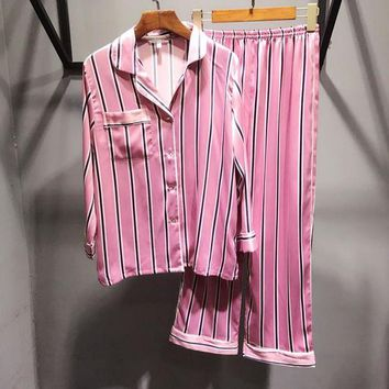 Victoria's Secret Fashion Women Comfortable Stripe Robe Sleepwear Loungewear Set Two-Piece I