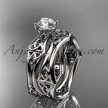 """platinum celtic trinity ring, triquetra ring, engagement set with a """"Forever One"""" Moissanite center stone CT7356S"""
