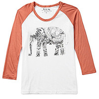 Miss Me Elephant Baseball Top - White