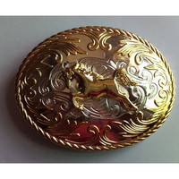 Golden HorseCowboys Cowgirls Metal Belt Buckle Texas Fashion Mens Western