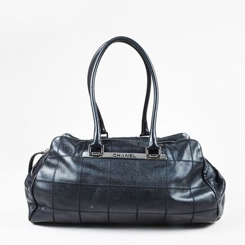 Chanel Black Pebbled Leather Square Quilted Double Handle Bowler Bag
