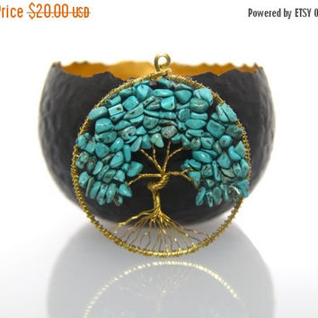 Christmas sales Tree of Life Pendant - Blue Turquoise & Gold Wire Wrapped - Tree Pendant Necklace - Handmade Jewellery