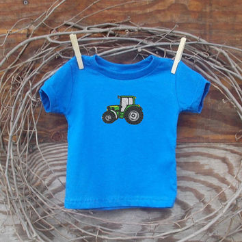 Baby Boys Clothes John Deere Tractor Embrodiery T shirt 6, 12, 18 month green, blue