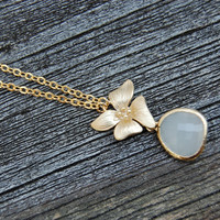 Gold Orchid Necklace with White teardrop, gift, wedding jewelry, mother, wife, sister, daughter, bridesmaid jewelry gift, birthday