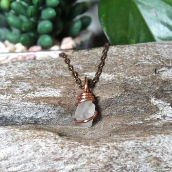 Tiny Celestite Necklace Wire Wrapped in Copper, Rough Stone Pendant, Raw Crystal Jewelry for Hippies, Bohemian Festival Gear, Boho Fashion
