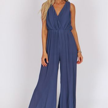 Pleated Jumpsuit Blue