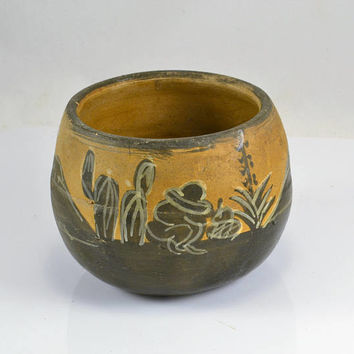 Mexico Flower Pot Planter - 1940s Tlaquepaque Hand Painted Mexican Folk Art Terra Cotta - Cactus Yucca  Barn Siesta Senor