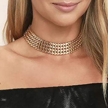 Trendy Style Gold-Color Braid Chain Choker Necklace Wide 33cm Fashion Ladies Body Collar Necklace Metal Jewelry