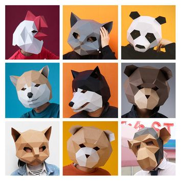 3D stereoscopic geometric paper mask Animal mask diy headset fancy dress Halloween party dog cat panda personality fashion