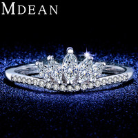 MDEAN White Gold Plated wedding Rings for women CZ diamond Jewelry engagement women rings Bague Accessories Bijoux ring MSR322