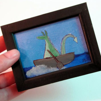 Small Original Dragon Painting Framed Art for Kids Room Nursery Decor
