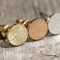 Dainty Rose gold, Gold & Silver circle stud earrings (EA00027)