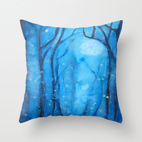 Fog and Fireflies Art Pillow Abstract Alders