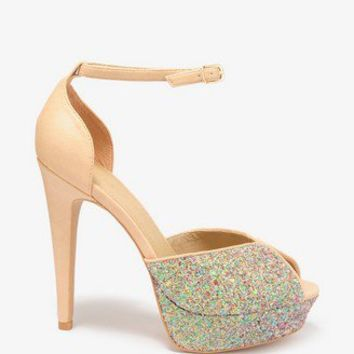 Glittered Peep Toe Heels