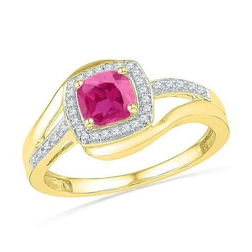 10kt Yellow Gold Women's Princess Lab-Created Pink Sapphire Solitaire Ring 1-1/10 Cttw - FREE Shipping (US/CAN)