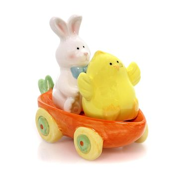 Tabletop BUNNY CHICK SALT & PEPPER CARROT CART Ceramic Spring Fun 9729975