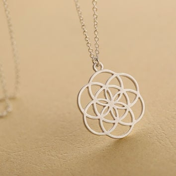 Silver mandala necklace flower of life pendant kabbalah sacred geometry necklace