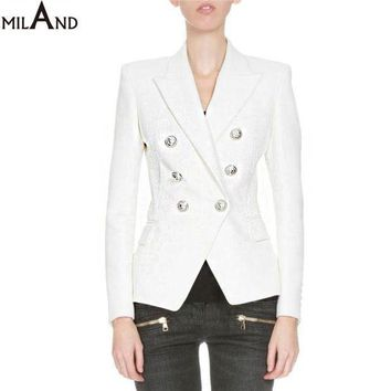 White And Black Double Breasted Blazer 2016 High Quality Women's Fashion Jacket Short Autumn 806