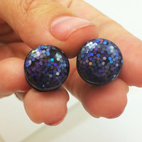 Black iridescent glitter plugs / 4g, 2g, 0g, 00g, 1/2, 9/16, 5/8  / sparkle plugs / acrylic gauges / screw on / iridescent gauges