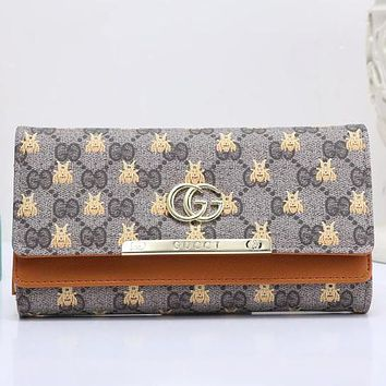 Gucci Bee Trending Women Metal GG Letter Leather Buckle Wallet Purse(7-Color) Brown I