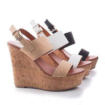 Bunty2 By X2B, Strappy Sling back Corkscrew Platform High Wedge Sandals