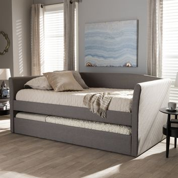 Baxton Studio Camino Modern and Contemporary Grey Fabric Upholstered Daybed with Guest Trundle Bed Set of 1
