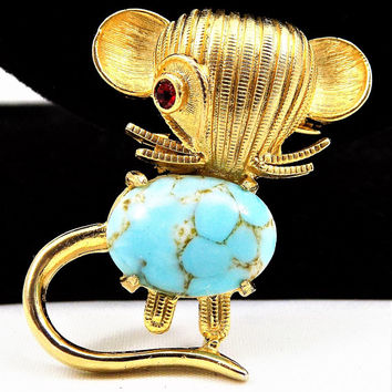 Weiss Mouse Brooch, Turquoise Glass Cabochon, Red Rhinestone Eye, Vintage Jewelry Brooch, Mid Century