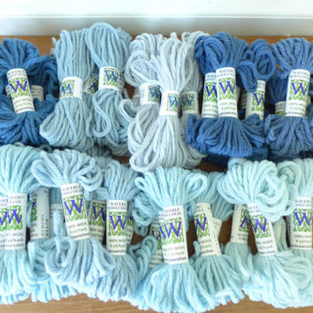 45 skeins blue Waverly Wool Colors needlepoint wool yard, 8 yard each