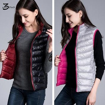 XMY3DWX Fashion women in winter to keep warm 90% white duck down jacket/femininity Candy color Stand collar two-sided Down vest