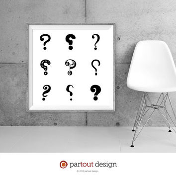 Printable Art question mark prints Zen Art Home Decor Modernist Wall Art Minimal Art Print Instant downloadable art black & white art prints