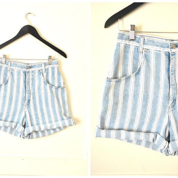 rolled up STRIPED jean shorts vintage 80s 90s LIGHT denim high waist shorts size 27 28