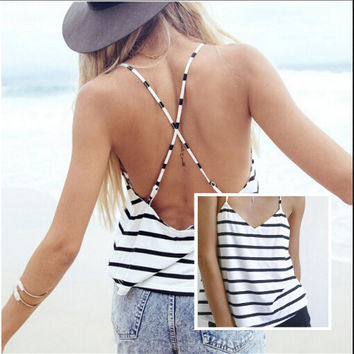 Sleeveless Camisole Summer Casual Blouse Crop Tops