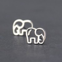Hollowed Silver Elephant Earrings - LilyFair Jewelry