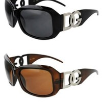 Amazon.com: 2 pairs of DG Eyewear Designer Sunglasses Brown, Black frame: Clothing