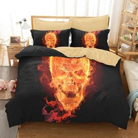 Flaming Skull Bedding sets 3D Skull head 3pcs Bed Linen Duvet Cover Pillowcase Queen King Size Bed Skull bedclothes