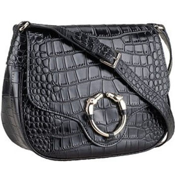 Gucci Ribot Horse Head Black Croc Leather Flap Bag