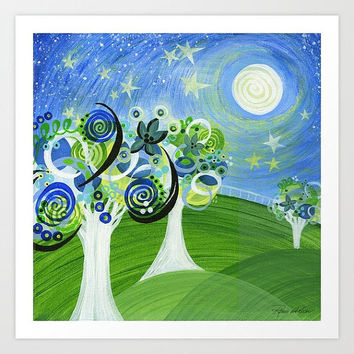 Starry Night Signed Print Stars Moon Meadow Swirls Nature Sky Grass Trees Hills Nursery Blue Green Yellow Home Decor Baby Children Christmas