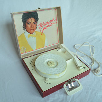Vanity Fair Michael Jackson Record Player Phonograph ~ Vintage ~ Thriller