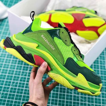Balenciaga Triple S Trainers Sneaker Green Oversized Multimaterial Sneakers With Quilted Effect - Best Online Sale