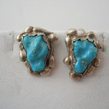 Sterling Silver 925 Turquoise Bead Earrings Screw Back Native American Design Sterling