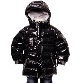 Deux Par Deux Fluffy Puffy Boys Jacket Anthracite Black