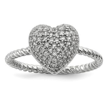 925 Sterling Silver Rhodium-plated Cubic Zirconia Heart Ring