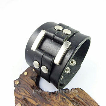 Leather Cuff Bracelet Leather wristbands alloy buckle Bracelet man Woman's Personalized Bangles For everyone's bracelet  Friendship Gift A87