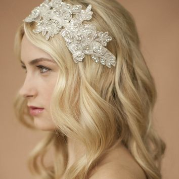 Handmade Ivory Lace Wedding Headband with Crystals & Beads
